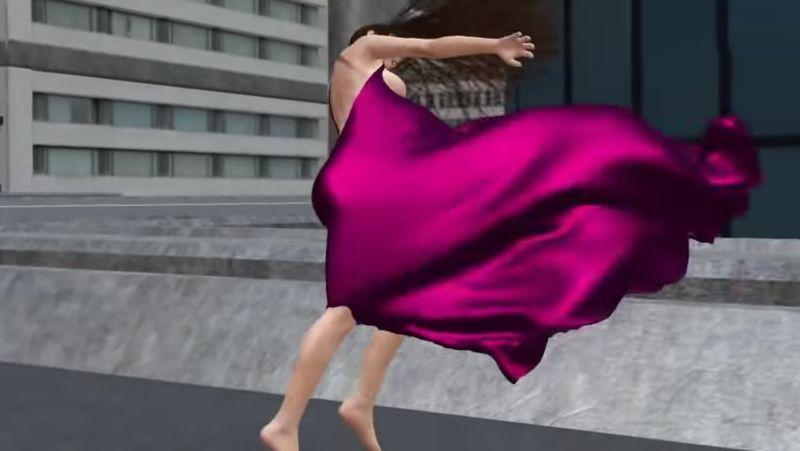 【強風】サテンドレスをまとった美女が風にあおられて吹き飛ばされる