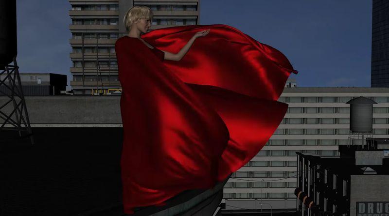 【赤マント】女神が屋上に立って街を見下ろす!風になびくサテン生地