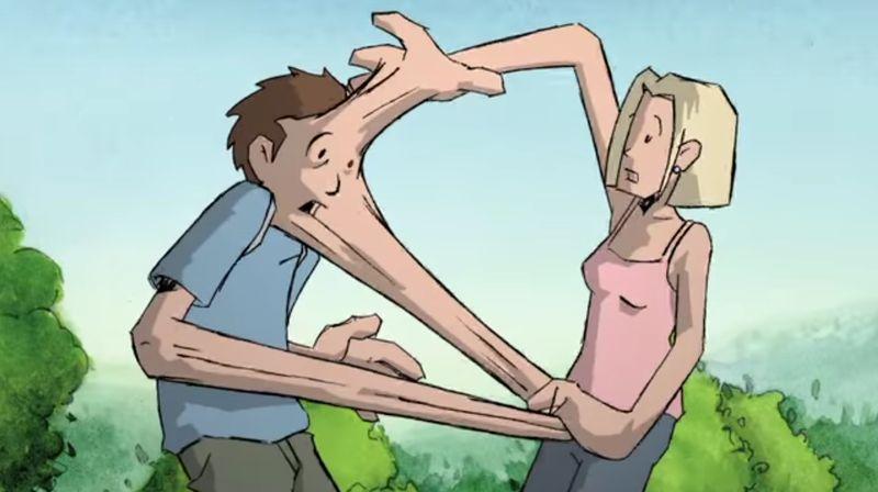 【握手】身体接触でくっついちゃった!男女が離れられず一体化して…