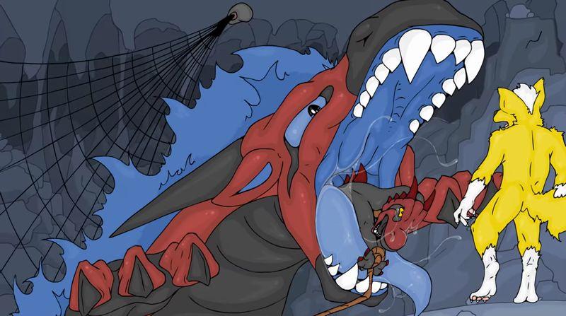 【丸呑み】ケモノがドラゴンの捕獲に失敗して飲み込まれるVORE!