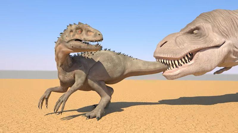【丸呑み】ティラノサウルスが獣人をパクッ!恐竜の食物連鎖が面白い